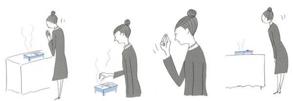 線香焼香の作法:立礼の場合