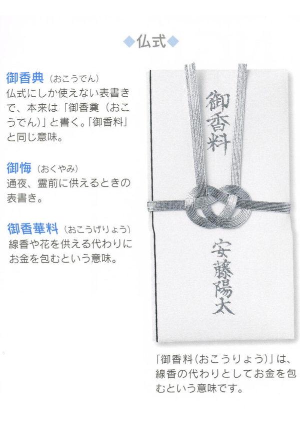 香典袋の書き方:仏式